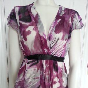 Reitmans Sheer floral purple blouse